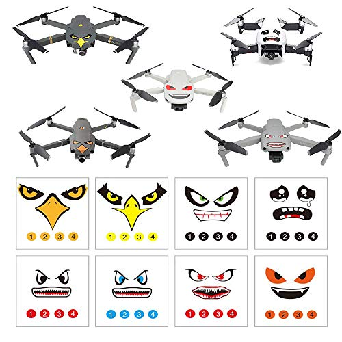 RCGEEK Stickers Set 3M Drone Decals Facial Expression Skins Compatible DJI Mavic Mini 2 / Mavic Air 2 / Mavic 2 Pro / Zoom / Mavic Pro Platinum / Pro / Mavic Air Avoiding Birds Clashing, 8 Styles