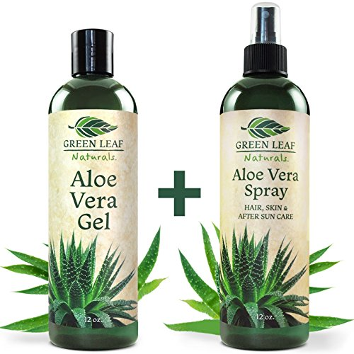 Green Leaf Naturals Organic Aloe Vera Gel + Spray for Skin, Hair, Face, After Sun Care and Sunburn Relief - 99.8% Organic - 100% Pure and Natural Skin Care Moisturizer - 2-Pack Set - 12 Ounce Bottles (Aloe Vera Spray Gel)