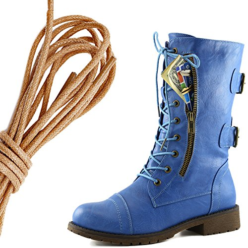 DailyShoes Womens Military Lace Up Buckle Combat Boots Mid Knee High Exclusive Credit Card Pocket, Brown Blue Skies