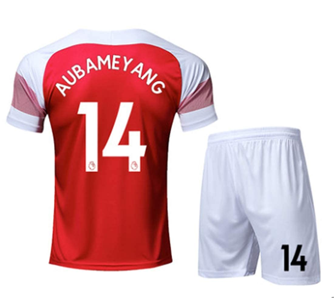 Amazon.com  LISIMKE Soccer Team 2018 19 Arsenal Home Aubameyang 14 Mens  Replica Shorts Kid Youth Replica Jersey Kit  Clothing 0b9f617ee