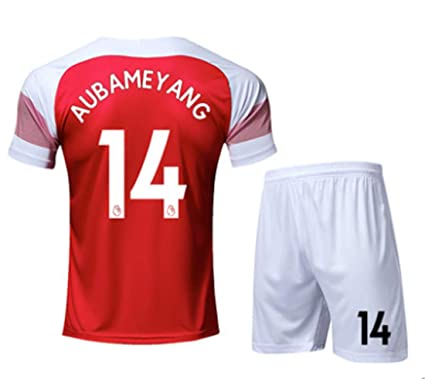 071197edaa6 LISIMKE Soccer Team 2018/19 Arsenal Home Angel Aubameyang 14 Mens  Replica&Shorts Kid Youth Replica