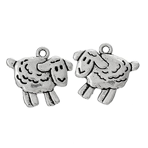 10 x Tibetan Silver Cute Sheep Lamb Farm Animal 18mm Charms Pendants Beads