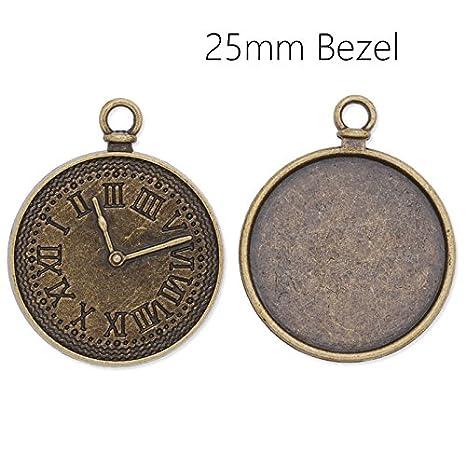 20 piezas/mucho más antigua tallada bronce plateado con bandejas de techo 25 mm en