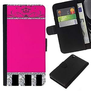 Glitter Pink Silver Crown Espumoso- la tarjeta de Crédito Slots PU Funda de cuero Monedero caso cubierta de piel Para HTC DESIRE 816