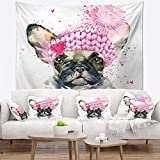 Designart TAP13225-32-39 'French Bulldog with Pink Hat' Contemporary Animal Tapestry Blanket Décor Wall Art for Home and Office, Medium: 32 in. x 39 in, Created on Lightweight Polyester Fabric