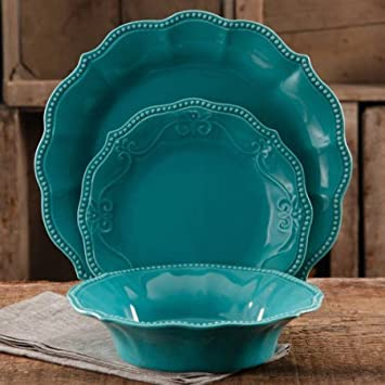 12-Piece Microwave-safe Crackle Glaze Dinnerware Set (Turquoise) : turquoise plate set - pezcame.com