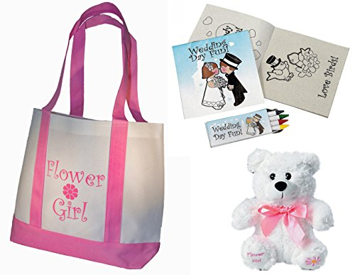 Flower Girl Bags - Best Flower Girl Gifts Set: Tote Bag, Teddy Bear, Wedding Day Kids Activity kits