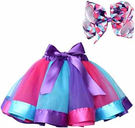 Bingoshine Layered Ballet Tulle Rainbow Tutu Skirt for Little Girls Dress Up with Colorful Hair Bows (RPB Rainbow, L,4-8 Age)