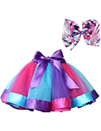 Layered Ballet Tulle Rainbow Tutu Skirt for Little Girls Dress up with Colorful Hair Bows