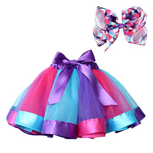 BGFKS Layered Ballet Tulle Rainbow Tutu Skirt for Little Girls Dress Up with Colorful Hair Bows (RPB Rainbow, L,4-8 Age)