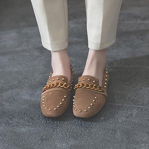 GIY Womens Classic Penny Loafers Square Toe Slip-On Rivets Dress Loafer Oxford Metallic Chain Shoes Brown rXHJwpJu