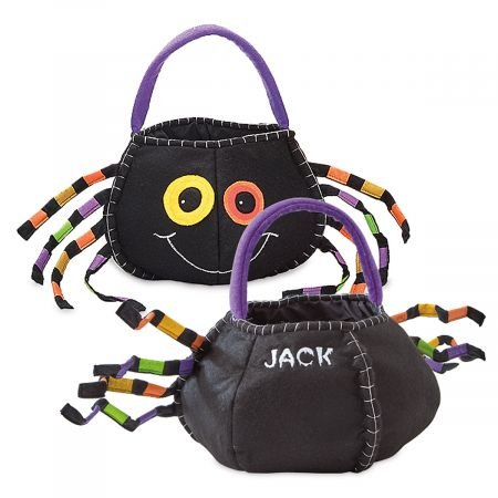 "Lillian Vernon Spider Character Personalized Halloween Treat Bag – Large Trick or Treat Tote & Candy Basket for Kids, Felt, 10"" x 10"" x 12"" (top to Bottom of Bag)"