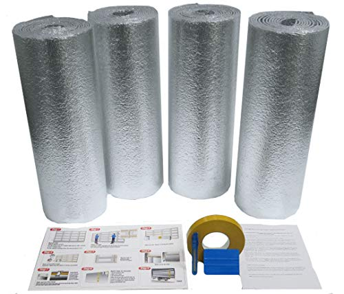 US Energy Supershield 2 Car Garage Door Kit 16W x 8H (Fits 14ft-16ft) R8 Non Fiberglass Reflective Foil Foam Core DIY Insulation Weatherization (Foil Tape, Knife, Squeegee) Water Proof / Made in USA by Supershield Insulation (Image #1)