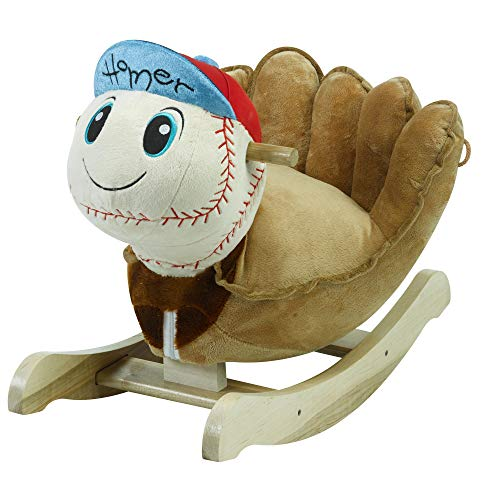 Homer Baseball Rocker Horse Plush Butterfly Baby Toy with Wooden Rocking Chiar Horse/Kid Rocking Toy/Baby Rocking Horse/Rocker/Animal Ride ()