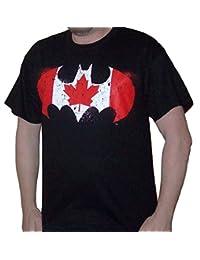 Sporticus Men's DC Comics Batman Distressed Canadian Flag Logo T-shirt