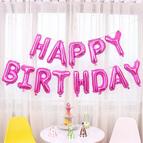 Bott Hanging Happy Birthday Balloons,16 inch Foil Letter Balloons Banner for Birthday Party (Hot -