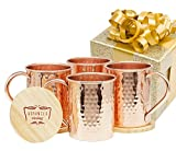 Advanced Mixology Moscow Mule 100% Pure Copper Mugs (Set of 4)- 16 Ounce with 2 Artisan Hand Crafted Wooden Coasters-Classic (Classic)