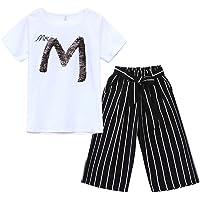 3-13 Años,SO-buts Adolescente Niños Niñas Verano Carta De Lentejuelas Camiseta Manga Corta Tops Raya Pierna Ancha…