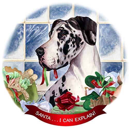 Santa Harlequin (Harlequin Dane Uncropped Dog Porcelain Ornament Pet Gift 'Santa. I Can Explain!')