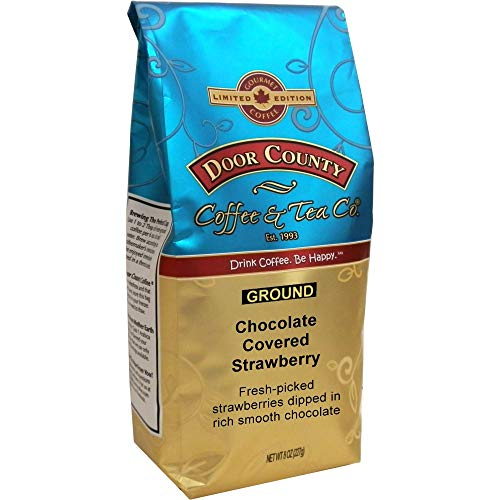 Door County Coffee, Spring & Summer Seasonal Blend, 8oz Bags (Chocolate Covered Strawberry, Ground)
