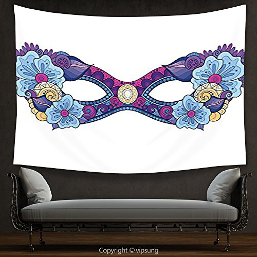 House Decor Tapestry Masquerade Decorations Collection Colored Carnival Mask with Decorative Flowers Masked Ball Celebration Art Navy Blue Magenta White Wall Hanging for Bedroom Living Room Dorm