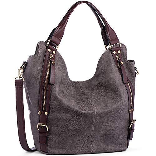 - JOYSON Women Handbags Hobo Shoulder Bags Tote PU Leather Handbags Fashion Large Capacity Bags dark brown