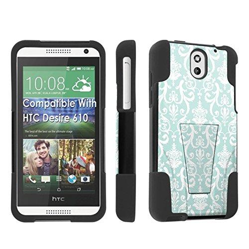 [SkinGuardz] Case for HTC Desire 610 Black/Black [Ultra Shock Resistance Tough Case with KickStand] - [Teal - Teal For Htc Cases Desire 610