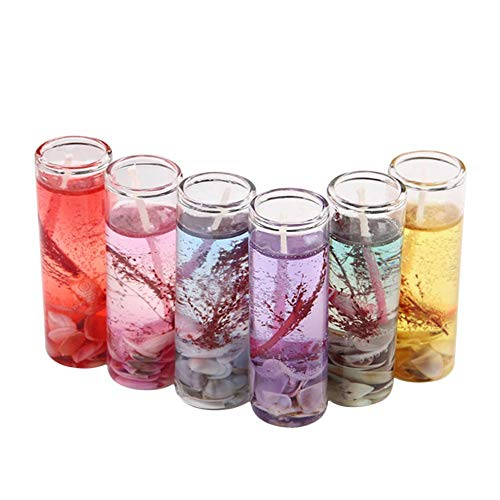 Dorrisi 6PCS Ocean Candles - Crystal Jelly Candles - Wedding Valentine's Day - Romantic Candles - Applique Life, Love, Laughter