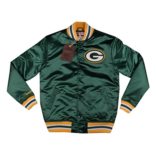 Mitchell & Ness Mens Green Bay Packers Satin Jacket Green Size S