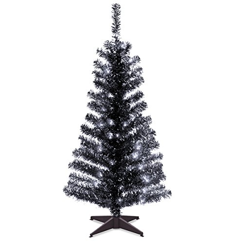 National Tree 4 Foot Black Tinsel Tree with Plastic Stand and 70 Clear Lights (TT33-304-40)]()
