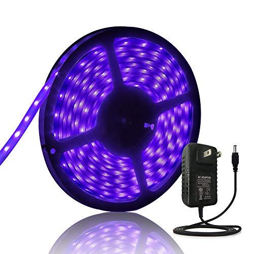 Black Lights UV - 2018 New Design Led Strip Lights Ultraviolet Light Tape Waterproof Black Lights 16.4ft 300 LEDs, 12V DC Cable Flexible led String Lights+ Power Supply -