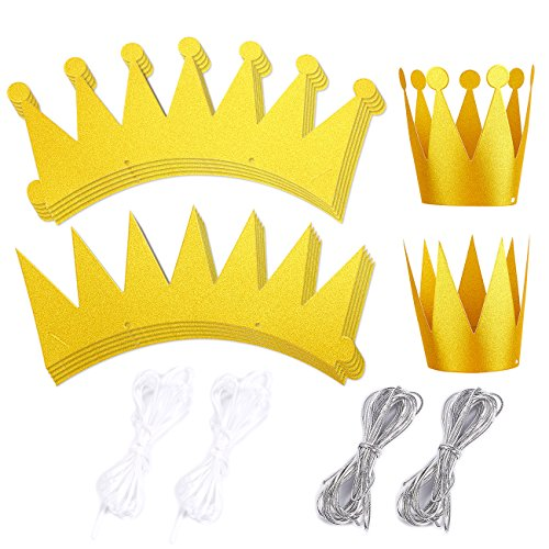 12-Pack Gold Crown Party Hats - Princess Prince Theme Party Supplies, Kids Birthday Party Supplies, King and Queen Style -