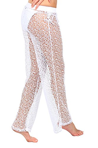 Ingear ganchillo malla Pull On pantalones Cover Up Blanco
