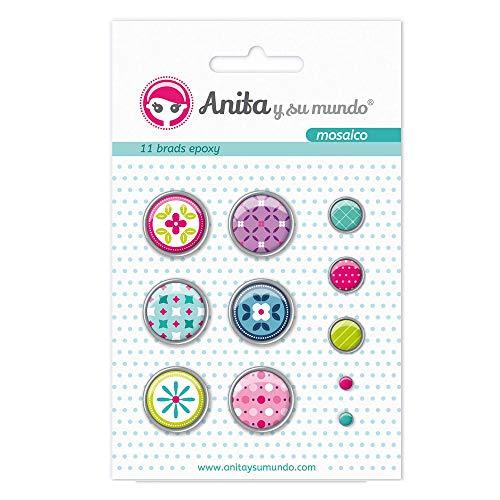Anita and Su Mundo 37050119 - Pack of 11 Brads, Epoxy Mosaic Design