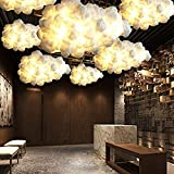 IJ INJUICY Modern Floating White Cloud Pendant Hanging Light Nordic Cotton Ceiling Light Fixture Girls Children's Living Room Bedroom Hotel Lobby Restaurant Clothing Store Chandelier (Dia. 59 Inch)