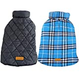 #9: Kuoser Cozy Waterproof Windproof Reversible British Style Plaid Dog Vest Winter Coat Warm Dog Apparel Cold Weather Dog Jacket Small Medium Large Dogs Furry Collar (XS - 3XL) Blue 3XL