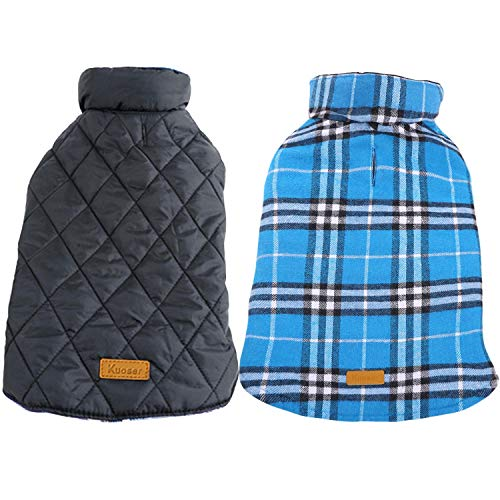 Kuoser Cozy Waterproof Windproof Reversible British Style Plaid Dog Vest Winter Coat Warm Dog Apparel for Cold Weather Dog Jacket for Small Medium Large Dogs with Furry Collar (XS - (Blue Dog Puppy Apparel)