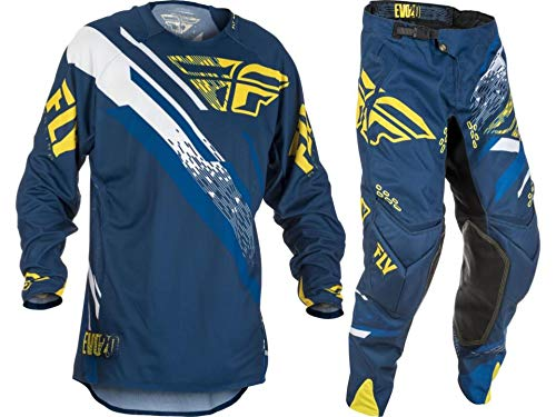 New Fly Racing Men's Evolution 2.0 Jersey & Pants Combo Set MX Riding Gear (Navy/Yellow, Adult XL / 36)