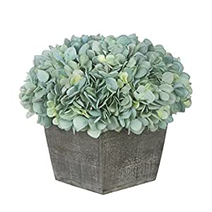 House of Silk Flowers Artificial Hydrangea in Grey-Washed Wood Cube (Teal)