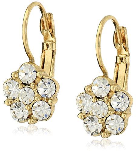 Earrings Crystal Flower Drop (1928 Jewelry Gold-Tone Crystal Flower Drop Earrings)
