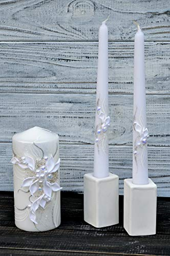 Magik Life Unity Candle Set for Wedding - Wedding décor & Wedding Accessories - Candle Sets - 6 Inch Pillar and 2 10 Inch Tapers - Best Unity Candle (Taper Unity Candle)