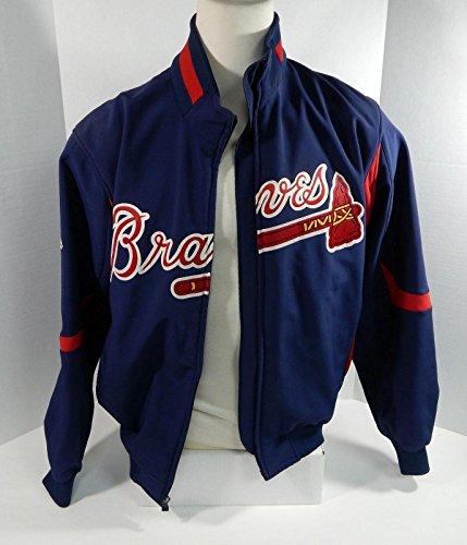 (Atlanta Braves Game Used Blue Bench Jacket Broken Zipper BRAVE0021 - Game Used MLB Jerseys)