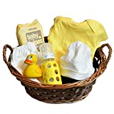 Organic Baby Gift Basket - Organic Outfit and Newborn Essentials in Yellow