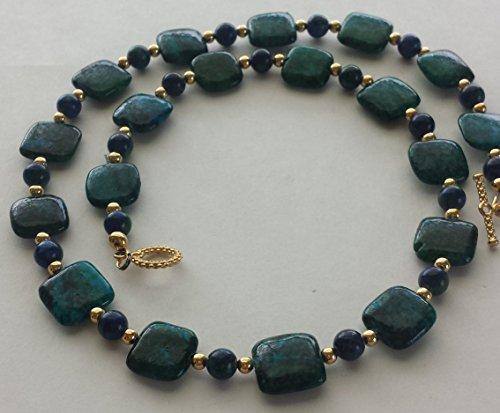 Azurite-Malachite, Gold-Plated Necklace