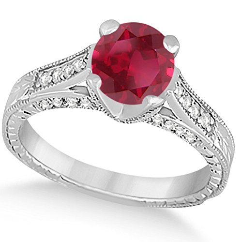 (1.40ct) 14k White Gold Diamond and Ruby Antique Cathedral Braided Rope Engagement Ring