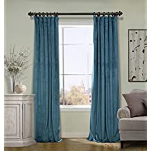COFTY Everglade Teal 50Wx84L Inch (1 Panel) Solid Matt Luxury Heavyweight Velvet Curtain Drape with Blackout Thermal Lining - Flat Hooks Heading for Track