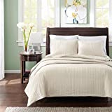 Madison Park Keaton Twin/Twin XL Size Quilt Bedding Set - Ivory, Quilted – 2 Piece Bedding Quilt Coverlets – Ultra Soft Microfiber Bed Quilts Quilted Coverlet