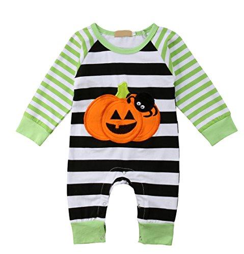 Baby Boy Girl Long Sleeve Pumpkin Spider Striped Romper Jumpsuit Cotton Onesies Bodysuit Baby Halloween Outfit (0-3 Months) -