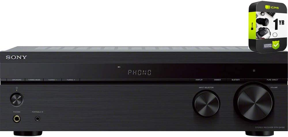 Sony STRDH190 2-Ch Stereo Receiver with Phono Inputs and Bluetooth 2018 Model Bundle with 1 Year Extended Protection Plan
