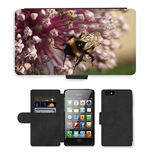 Just Phone Cases PU Leather Flip Custodia Protettiva Case Cover per // M00127461 Bumble Bee-Été Fleur Insecte // Apple iPhone 4 4S 4G
